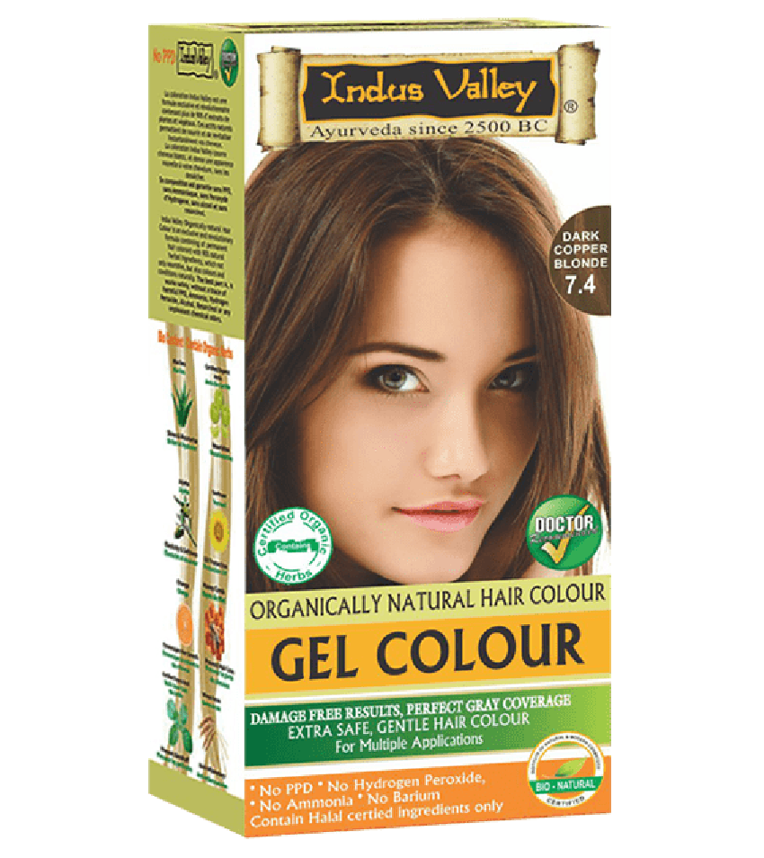 90% Chemical Free Gel Hair Colour Dark Copper Blonde 7.4