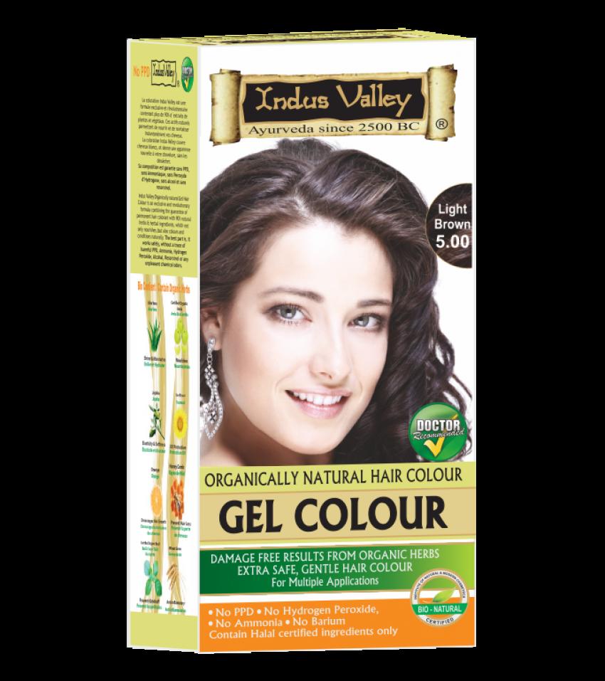 90% Chemical Free Gel Hair Colour Light Brown 5.0