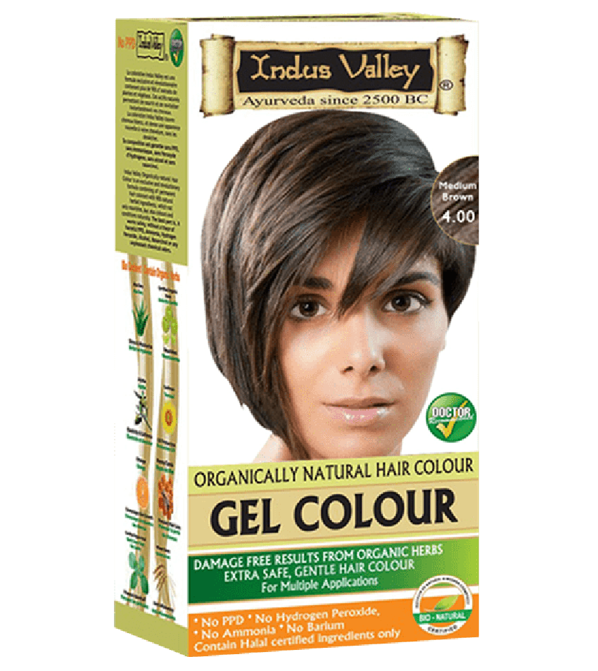 90% Chemical Free Gel Hair Colour Medium Brown 4.0