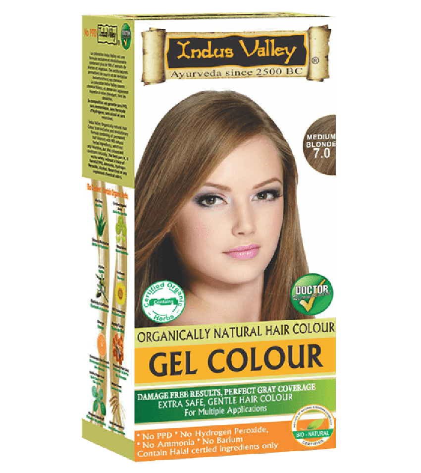 90% Chemical Free Gel Hair Colour Medium Blonde 7.0