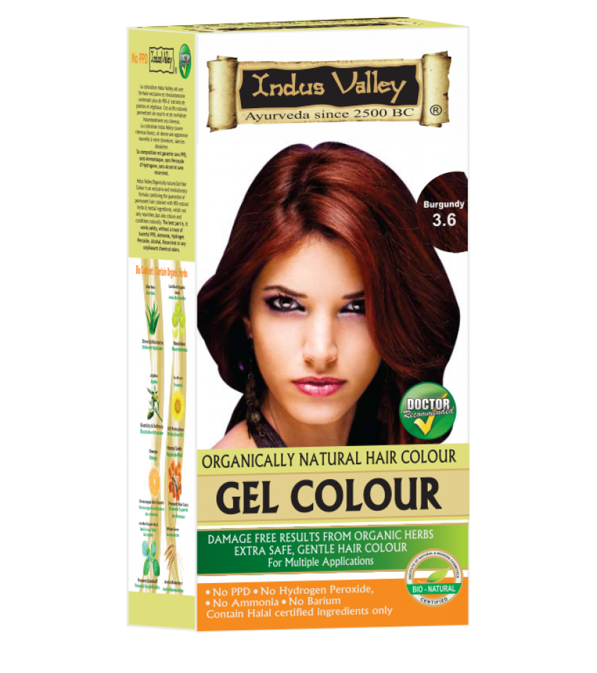 90% Chemical Free Gel Hair Colour Burgundy 3.6