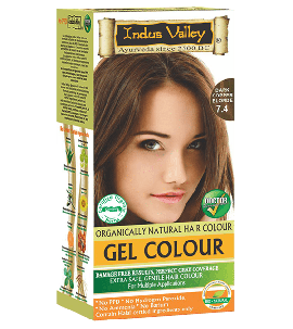 90% Chemical Free Gel Hair Colour Dark Copper Blonde 7.4