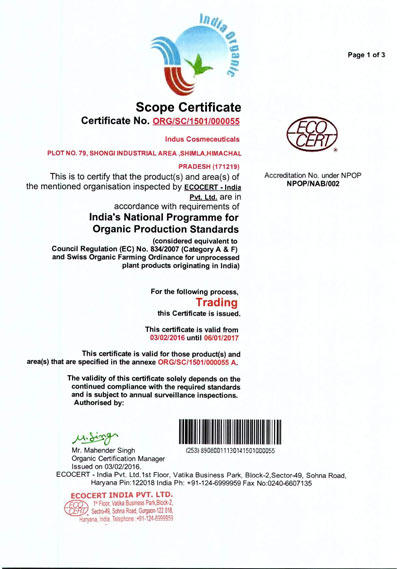 indusvalley eco-cert certification