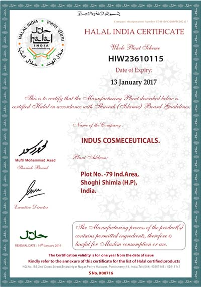 indusvalley Halal certification