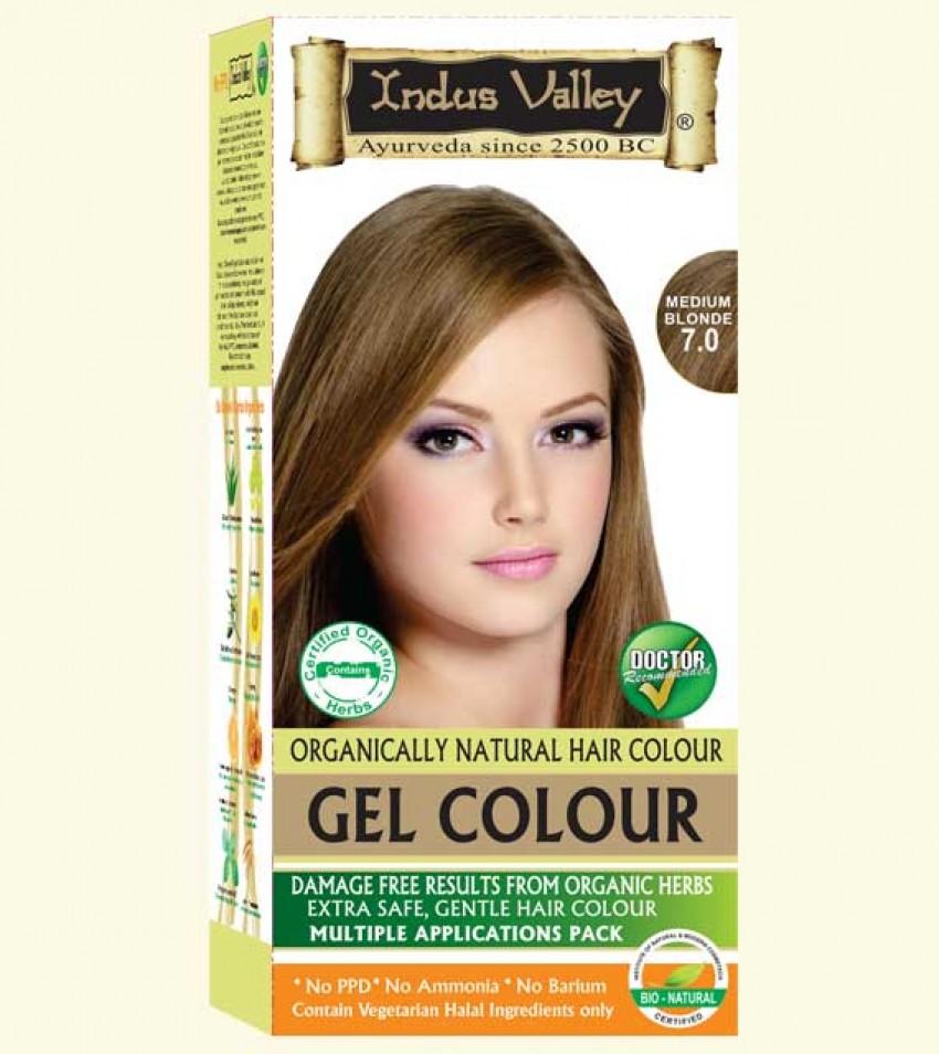 90% Chemical Free Gel Hair Colour Medium Blonde 7.0