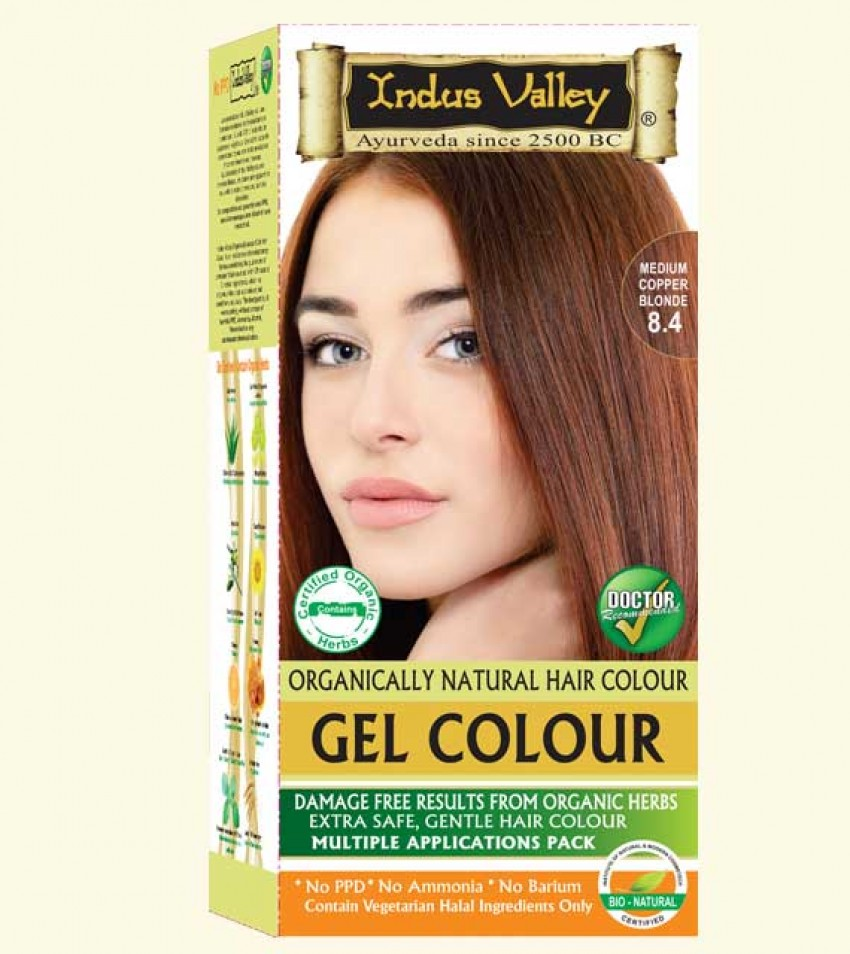 90% Chemical Free Gel Hair Colour Medium Copper Blonde 8.4