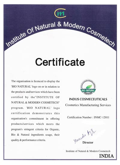 indusvalley Bionatural certification